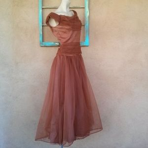 1950s Emma Domb Chiffon Party Dress B36 W28